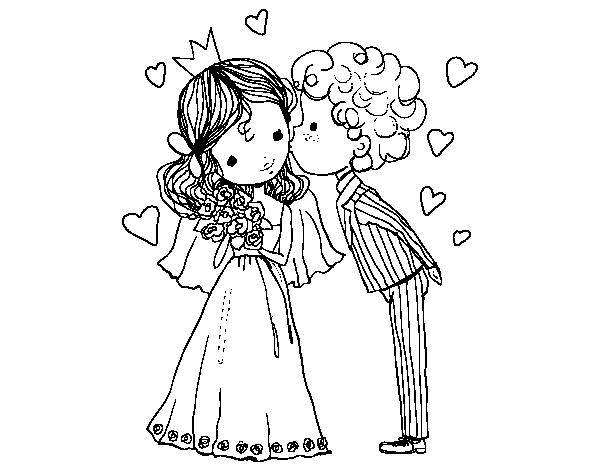 Desenho De Casamento Do Príncipe E Da Princesa Para