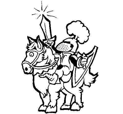 Desenho de Cavaleiro a alçar a espada para Colorir