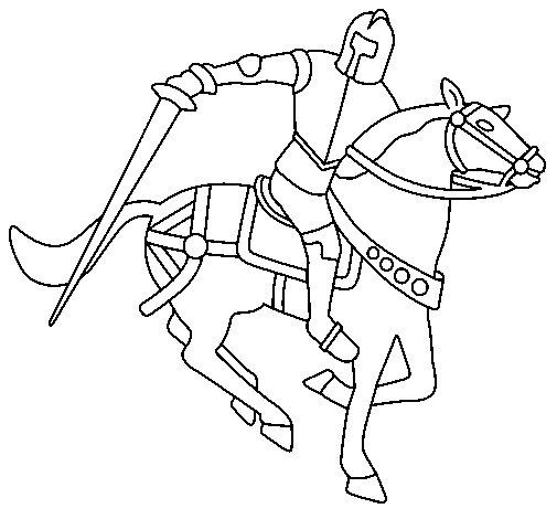 Desenho de Cavaleiro a cavalo IV para Colorir