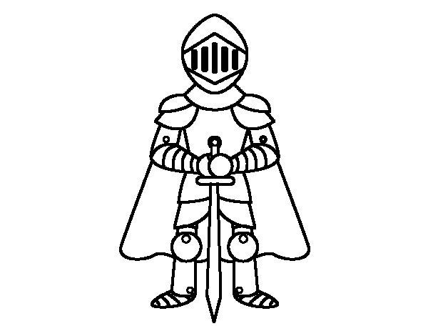 Desenho de Cavaleiro com capa para Colorir