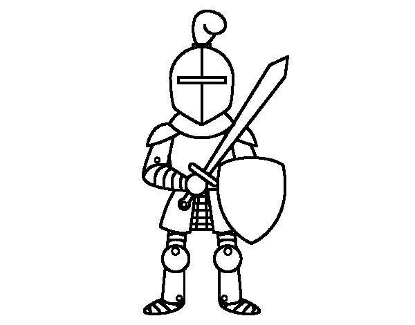 Desenho de Cavaleiro com espada e escudo para Colorir