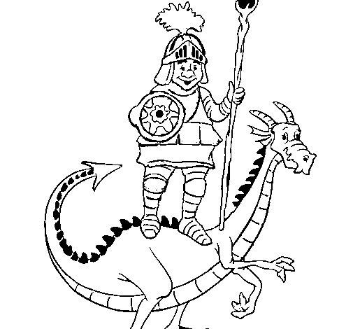 Desenho de Cavaleiro São Jorge e o dragão para Colorir