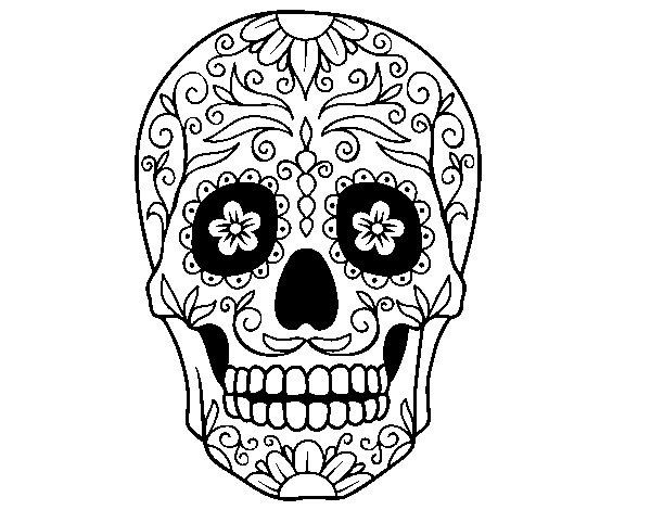Desenho de Caveira mexicana para Colorir