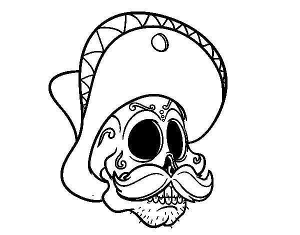 Desenho de Caveira mexicana com bigode para Colorir