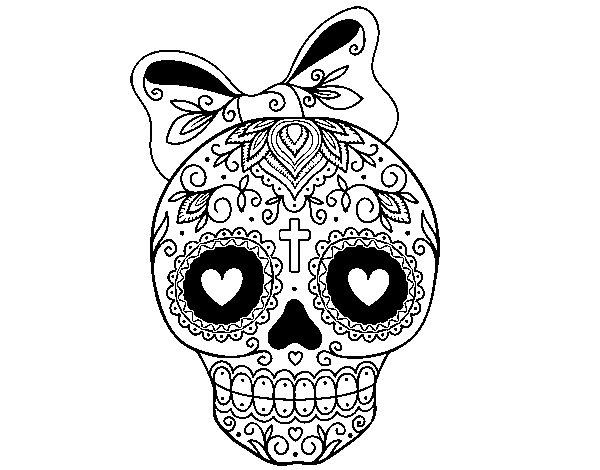 Desenho de Caveira mexicana com laço para Colorir