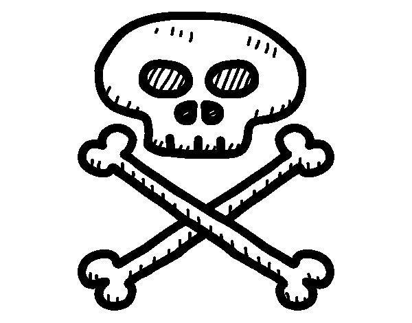 Desenho de Caveira pirata para Colorir