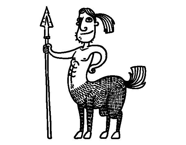 Desenho de Centauro com lança para Colorir