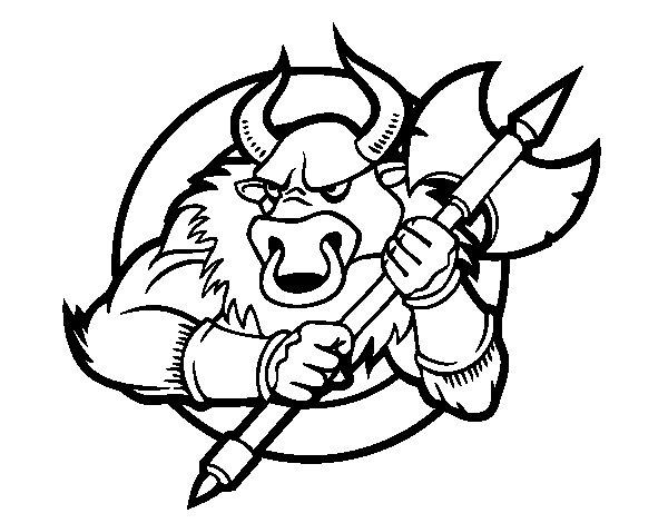 Desenho de Centauro com machadinha para Colorir