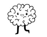 Desenho de Cérebro kawaii para colorear