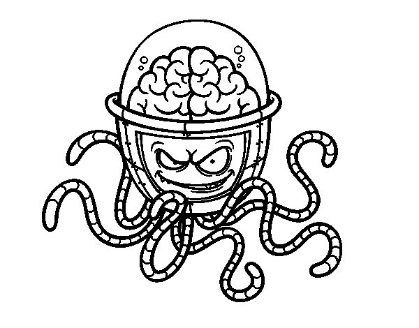 Desenho De Cérebro Mecânico Para Colorir