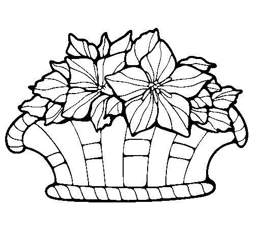 Desenho de Cesta de flores 8 para Colorir