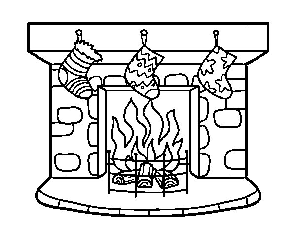Desenho de Chaminé de Natal para Colorir