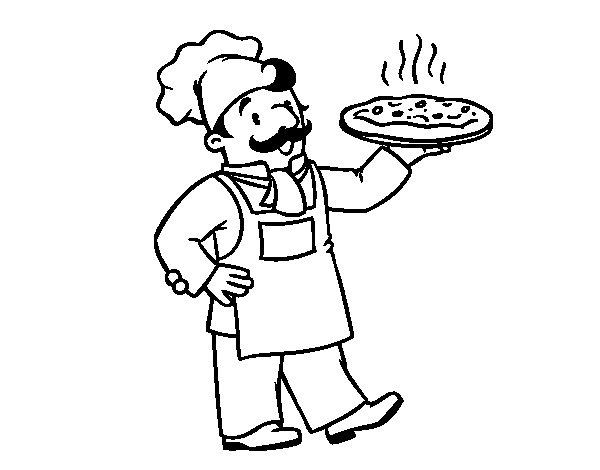Desenho de Chef italiano para Colorir