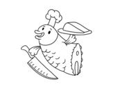 Desenho de Chef Peixe para colorear