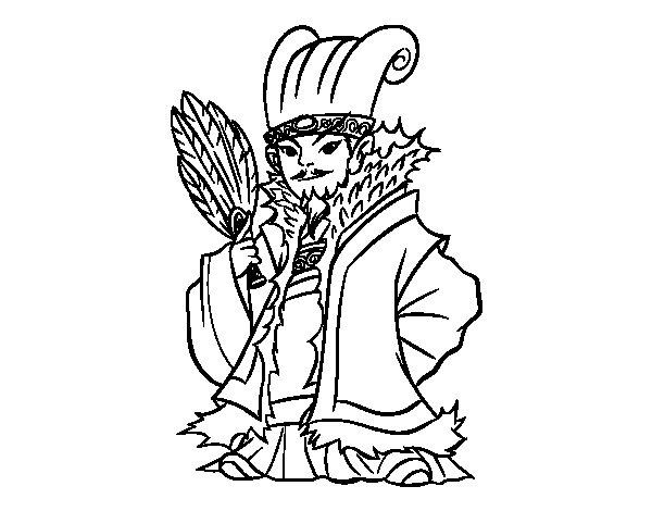 Desenho de Chinês militar Kong Ming para Colorir