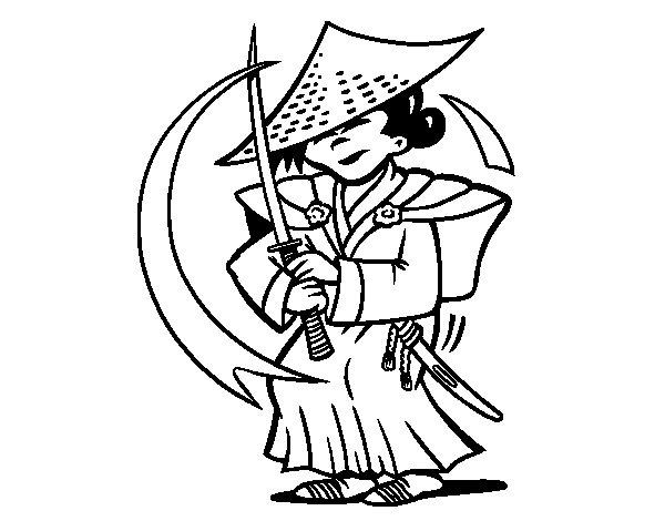 Desenho de Chinês con sabre para Colorir