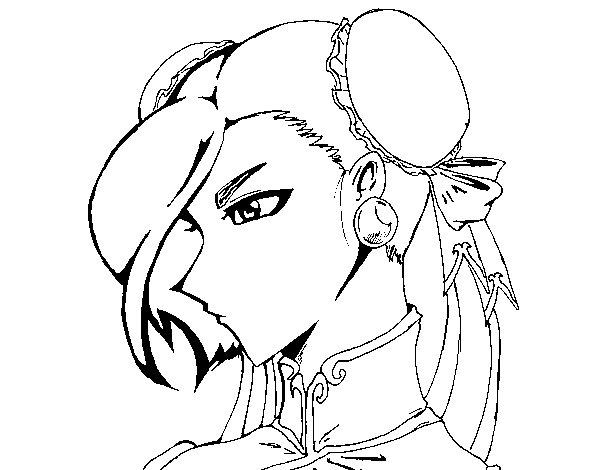 Desenho de Chun-Li para Colorir