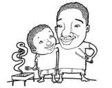 Desenho de Churrasco com pai para colorear