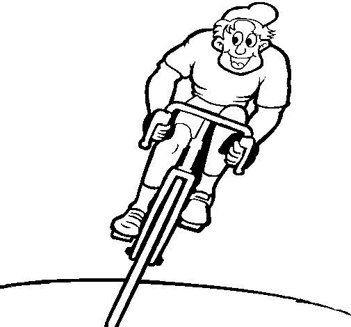 Desenho de Ciclista com gorro para Colorir