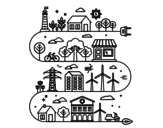 Desenho de Cidade ecológica para colorear