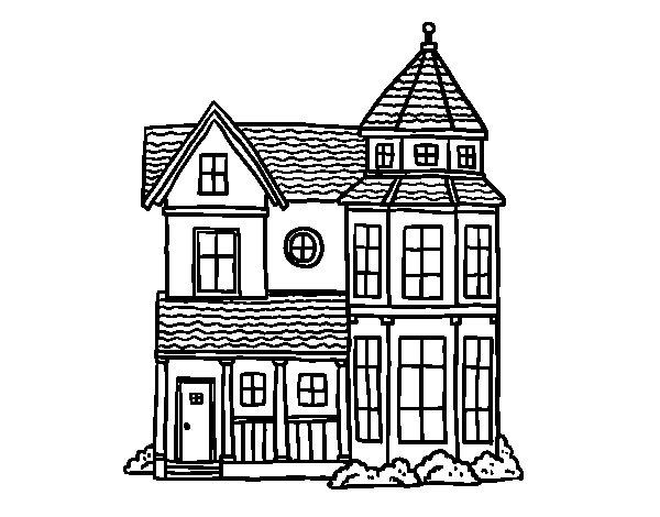 Desenho de Clássica mansão para Colorir