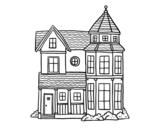 Desenho de Clássica mansão para colorear