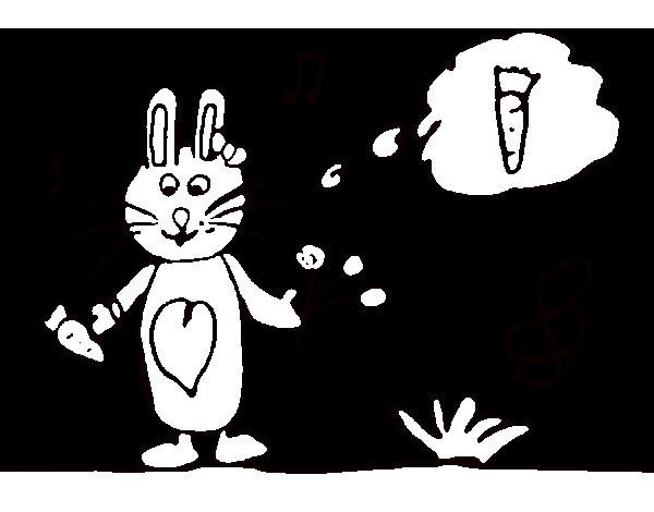 Desenho de Coelhito con cenoura para Colorir