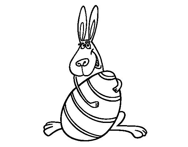 Desenho de Coelho abraçando um ovo para Colorir