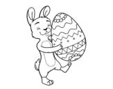 Desenho de Coelho com enorme ovo de Páscoa para colorear