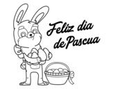 Dibujo de Coelho com muitos ovos de Páscoa