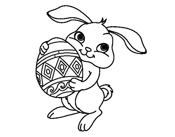 Desenho de Coelho com ovo Páscoa para Colorir