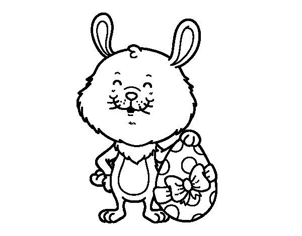 Desenho de Coelho com presente de Páscoa para Colorir