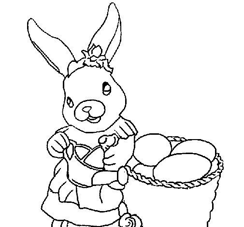 Desenho de Coelho da Páscoa com regador para Colorir