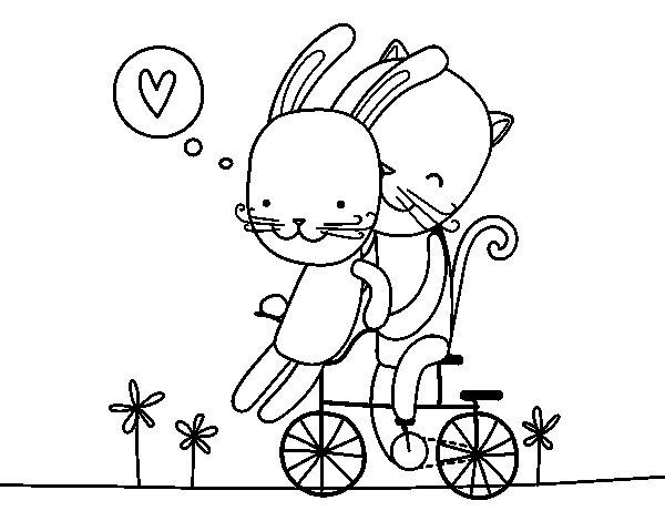 Desenho de Coelho e Gato amantes para Colorir