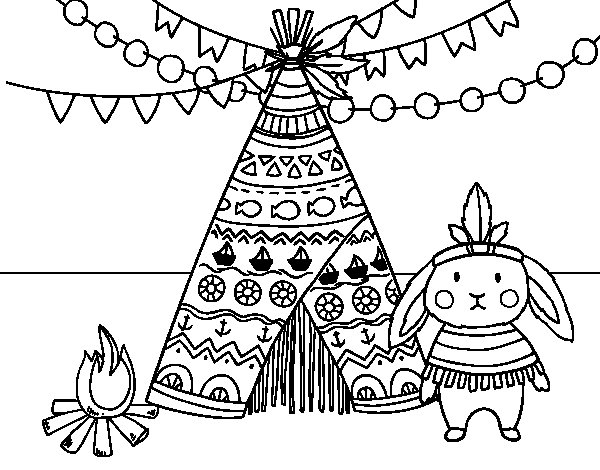 Desenho de Coelho indiano para Colorir