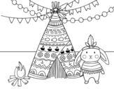 Desenho de Coelho indiano para colorear