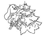 Desenho de Coelho que decora a árvore de Natal para colorear