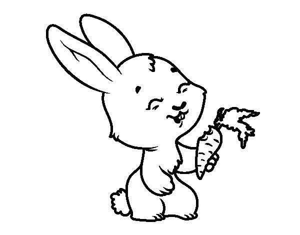 Desenho de Coelho sorridente para Colorir