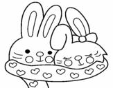 Desenho de Coelhos apaixonados para colorear