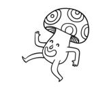 Desenho de Cogumelo feliz para colorear