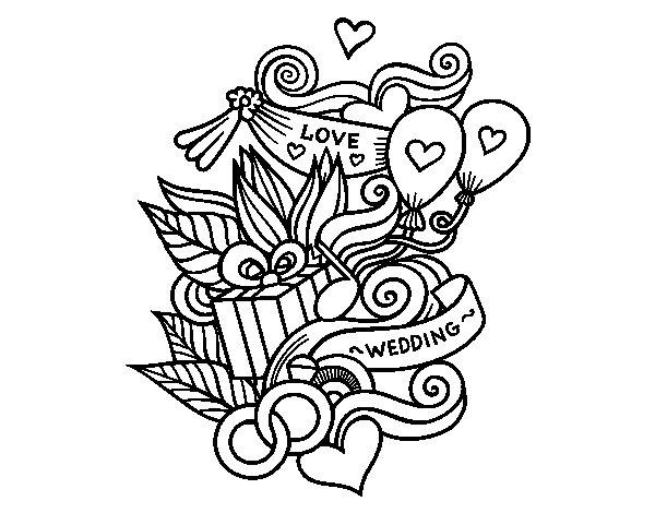 Desenho de Colagem do casamento para Colorir