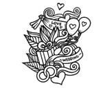 Desenho de Colagem do casamento para colorear