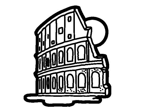 Desenho de Coliseu de Roma para Colorir