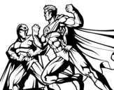 Desenho de Combate herói e vilão para colorear
