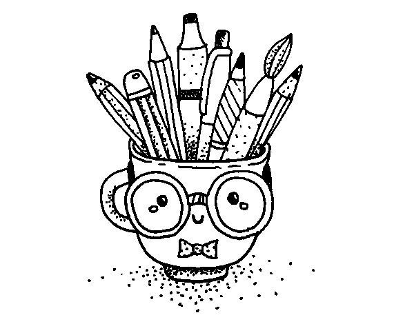 Desenho de Copo animado com lápis para Colorir