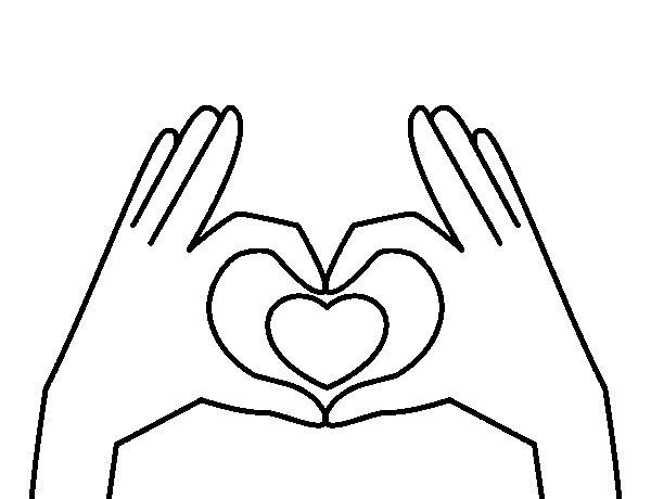 Desenho de Coração com as mãos para Colorir