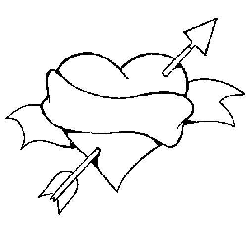 Desenho de Coração, data e laço para Colorir