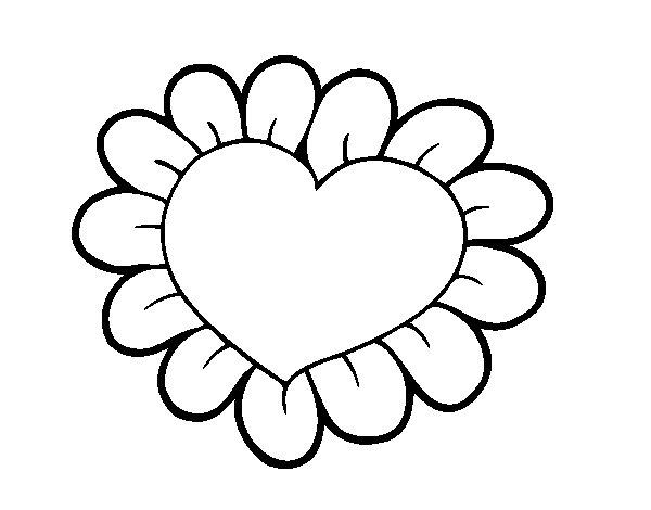 Corações Desenhos Para Colorir Colorir: Desenho De Coração Flor Para Colorir