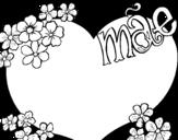 Desenho de Coração mae para colorear