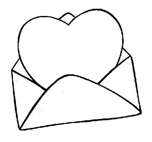 Desenho de Coração num envelope para Colorir